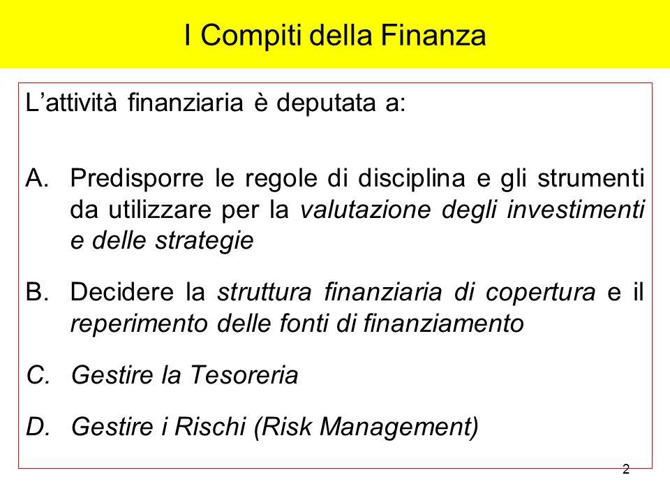 2 I Compiti della Finanza Lattività finanziaria è deputata a: A.Predisporre le regole di disciplina e gli strumenti da utilizzare per la valutazione d