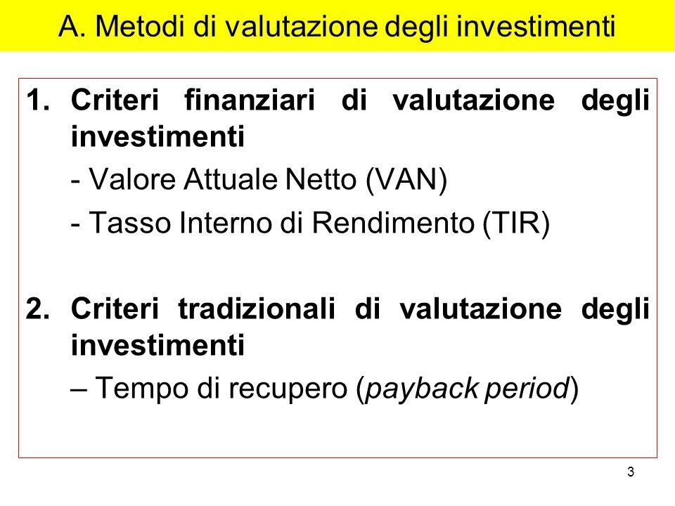 3 A. Metodi di valutazione degli investimenti 1.Criteri finanziari di valutazione degli investimenti - Valore Attuale Netto (VAN) - Tasso Interno di R