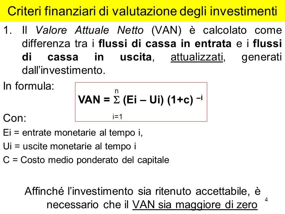 4 Criteri finanziari di valutazione degli investimenti 1.Il Valore Attuale Netto (VAN) è calcolato come differenza tra i flussi di cassa in entrata e