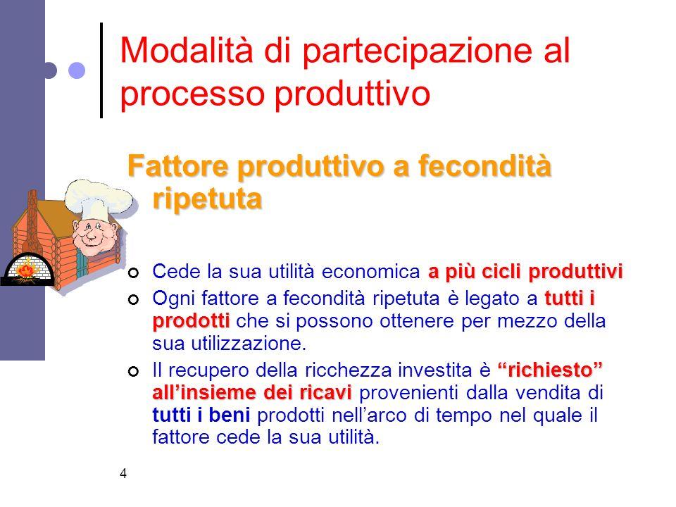 4 Modalità di partecipazione al processo produttivo Fattore produttivo a fecondità ripetuta a più cicli produttivi Cede la sua utilità economica a più