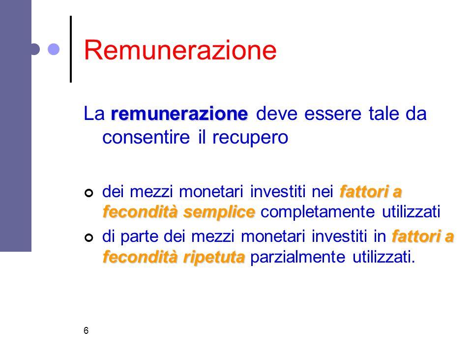 6 Remunerazione remunerazione La remunerazione deve essere tale da consentire il recupero fattori a fecondità semplice dei mezzi monetari investiti ne
