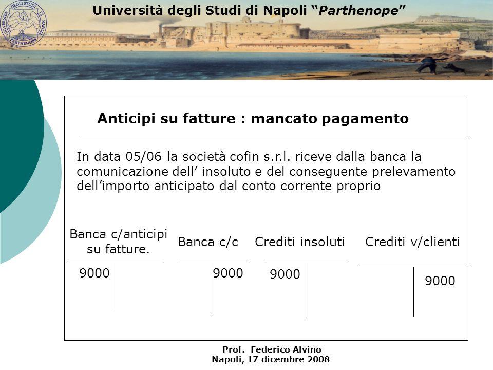 Università degli Studi di Napoli Parthenope Prof. Federico Alvino Napoli, 17 dicembre 2008 Crediti v/clienti 9000 Anticipi su fatture : mancato pagame