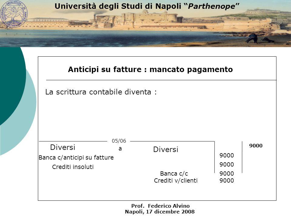 Università degli Studi di Napoli Parthenope Prof. Federico Alvino Napoli, 17 dicembre 2008 Anticipi su fatture : mancato pagamento 05/06 Banca c/c Ban