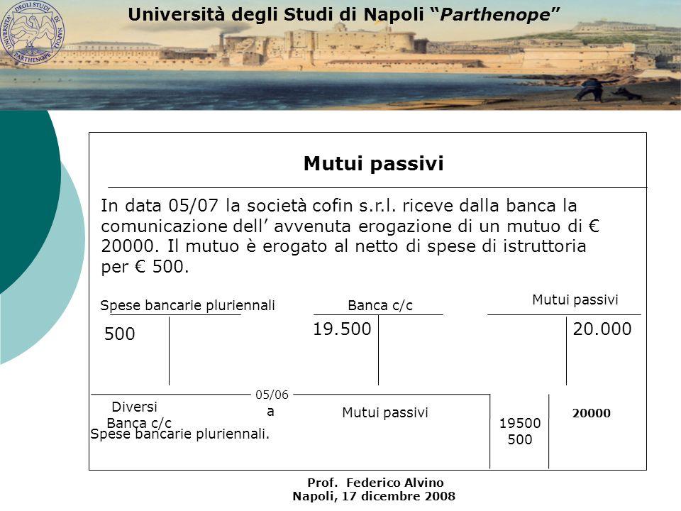 Università degli Studi di Napoli Parthenope Prof. Federico Alvino Napoli, 17 dicembre 2008 Mutui passivi 20.000 500 Mutui passivi Spese bancarie pluri