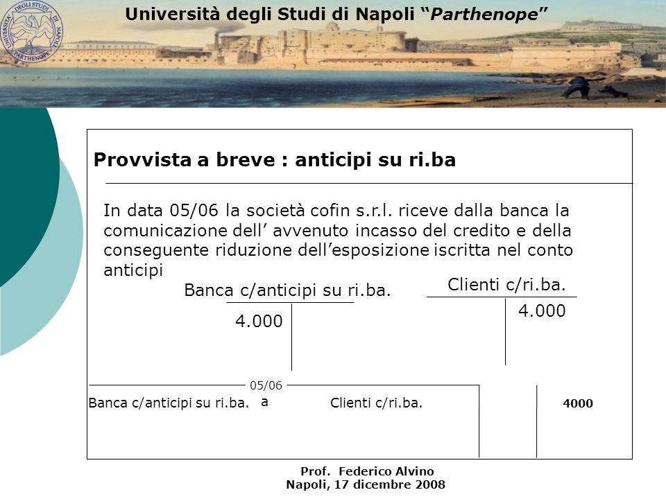 Università degli Studi di Napoli Parthenope Prof. Federico Alvino Napoli, 17 dicembre 2008 Clienti c/ri.ba. 4.000 Provvista a breve : anticipi su ri.b
