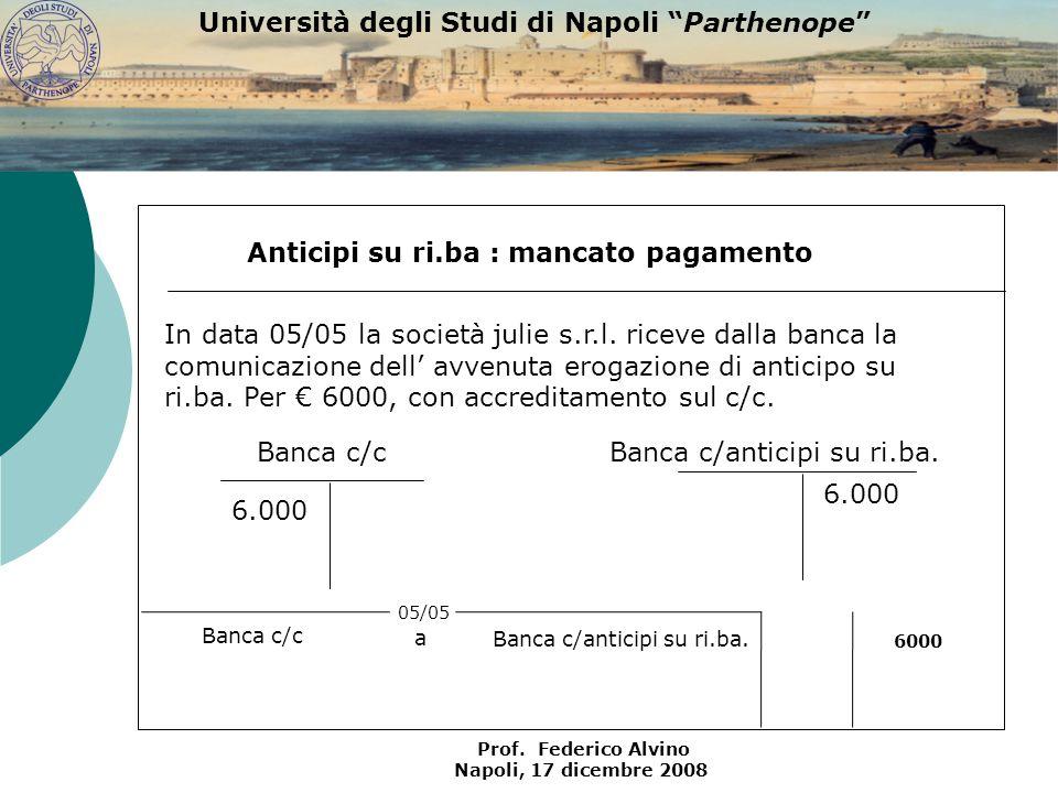 Università degli Studi di Napoli Parthenope Prof. Federico Alvino Napoli, 17 dicembre 2008 Banca c/c 6.000 Anticipi su ri.ba : mancato pagamento Banca