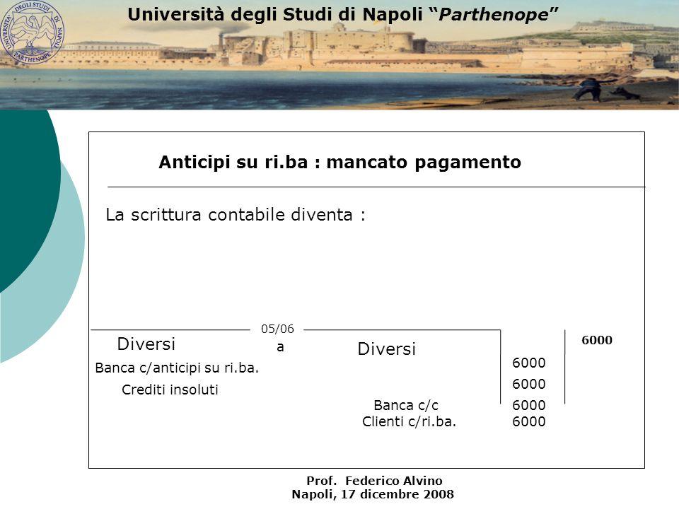 Università degli Studi di Napoli Parthenope Prof. Federico Alvino Napoli, 17 dicembre 2008 Anticipi su ri.ba : mancato pagamento 05/06 Banca c/c Banca