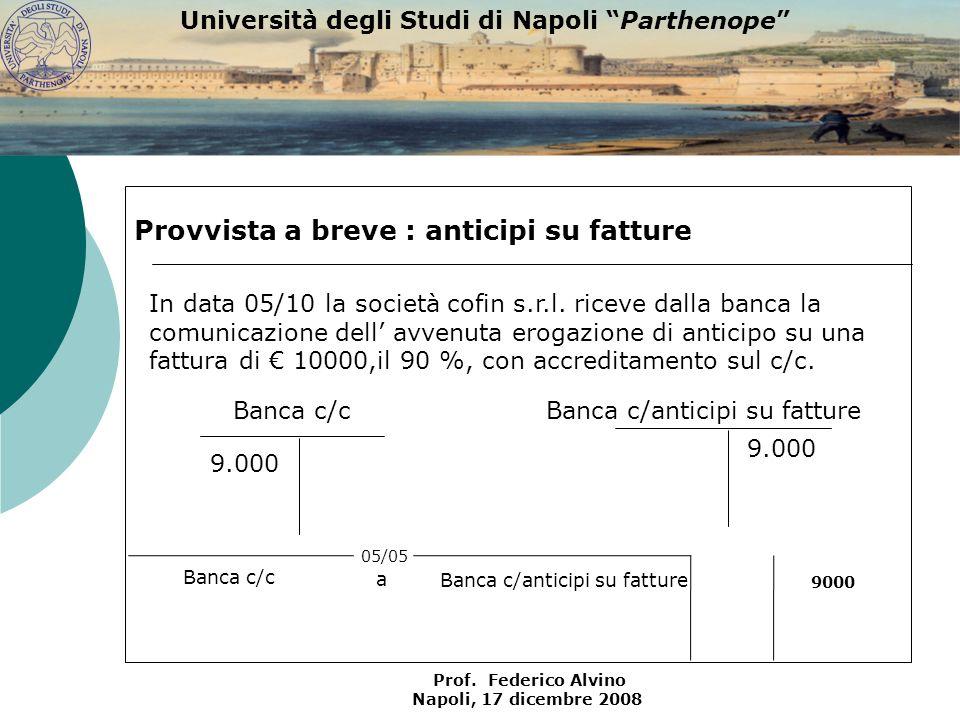 Università degli Studi di Napoli Parthenope Prof. Federico Alvino Napoli, 17 dicembre 2008 Banca c/c 9.000 Provvista a breve : anticipi su fatture Ban