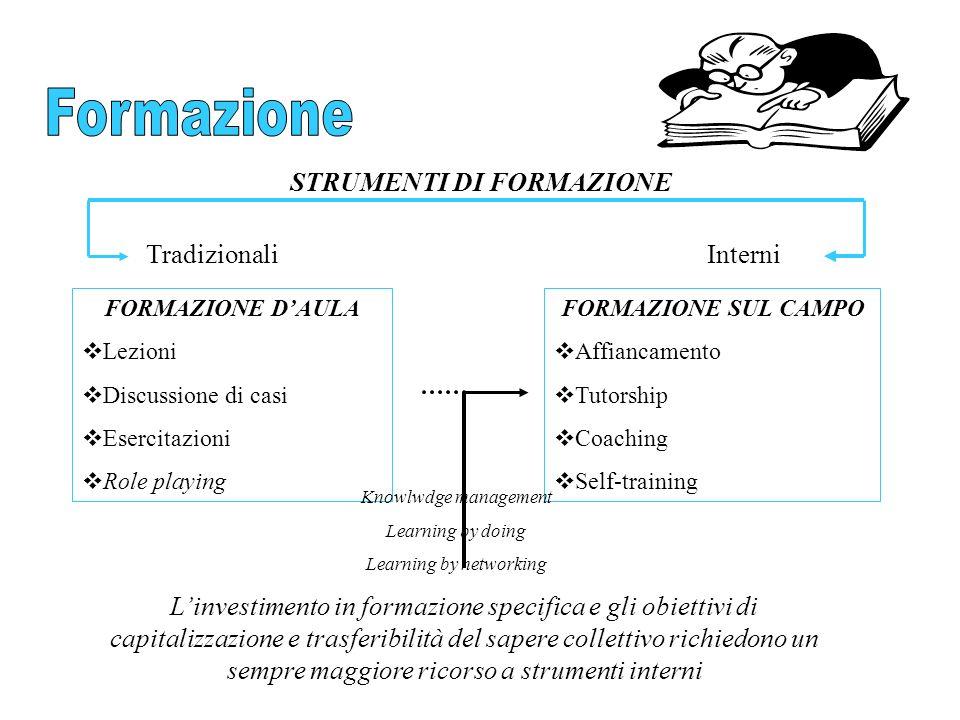STRUMENTI DI FORMAZIONE TradizionaliInterni FORMAZIONE DAULA Lezioni Discussione di casi Esercitazioni Role playing FORMAZIONE SUL CAMPO Affiancamento