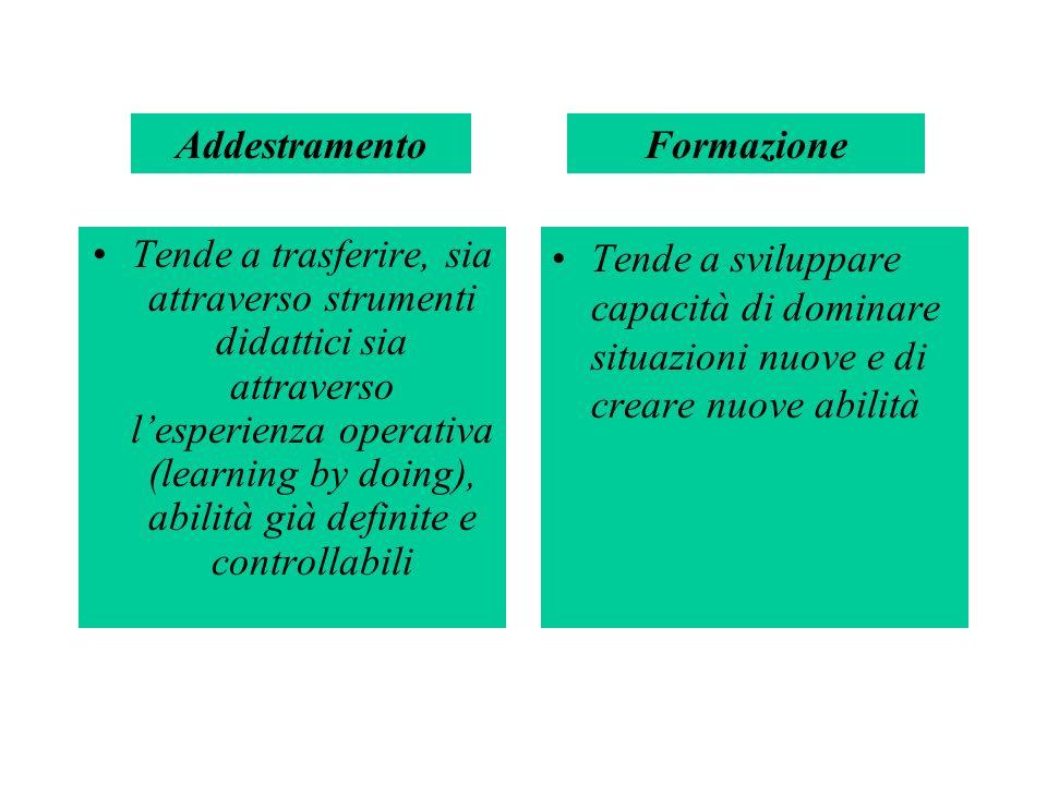 Tende a trasferire, sia attraverso strumenti didattici sia attraverso lesperienza operativa (learning by doing), abilità già definite e controllabili