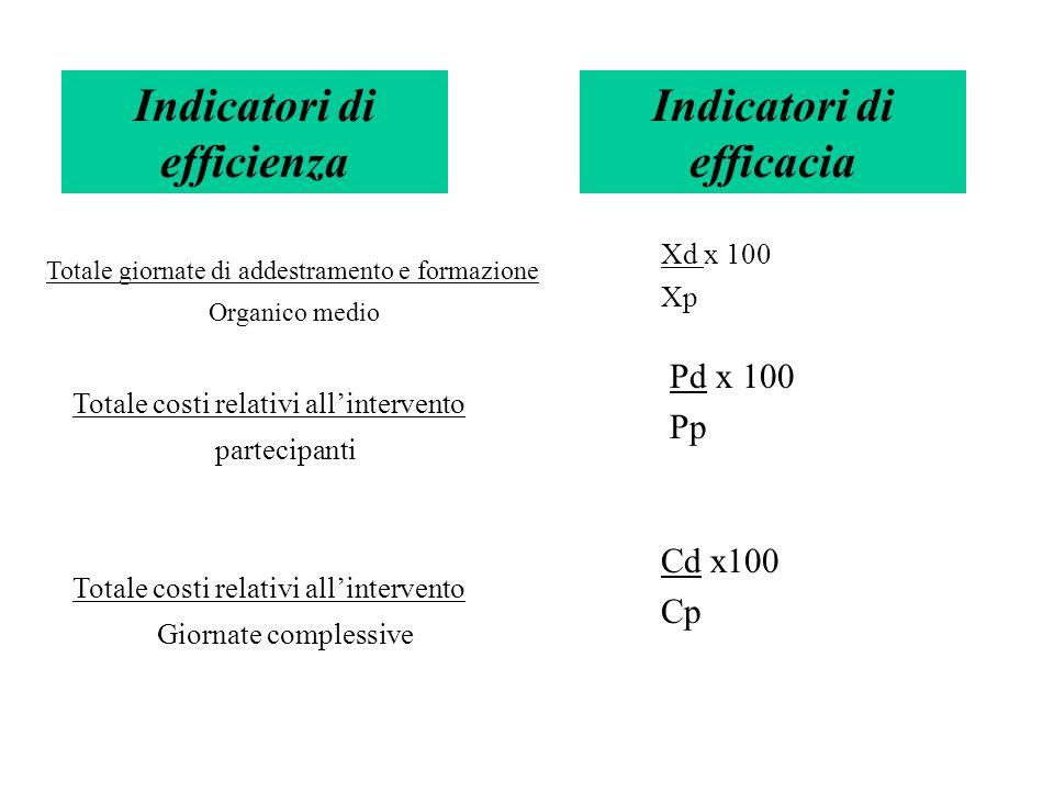 Indicatori di efficienza Totale giornate di addestramento e formazione Organico medio Totale costi relativi allintervento partecipanti Totale costi re