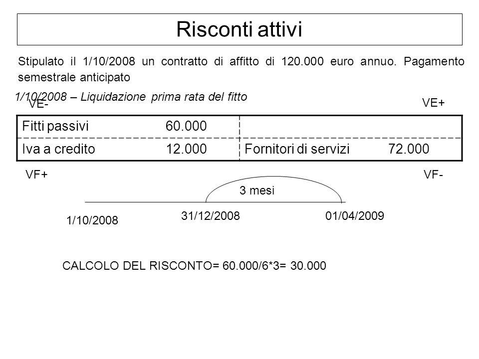 Risconti attivi Stipulato il 1/10/2008 un contratto di affitto di 120.000 euro annuo. Pagamento semestrale anticipato 1/10/2008 – Liquidazione prima r
