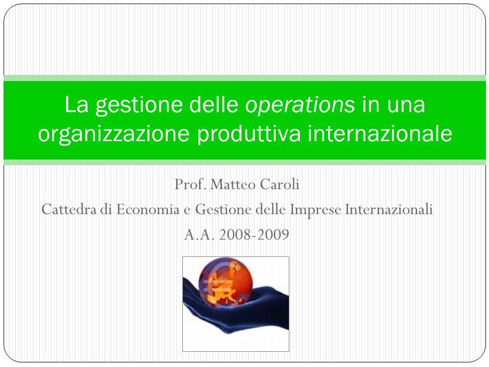 Prof. Matteo Caroli Cattedra di Economia e Gestione delle Imprese Internazionali A.A. 2008-2009 La gestione delle operations in una organizzazione pro