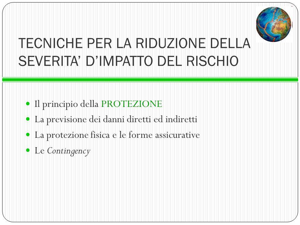 TECNICHE PER LA RIDUZIONE DELLA SEVERITA DIMPATTO DEL RISCHIO Il principio della PROTEZIONE La previsione dei danni diretti ed indiretti La protezione
