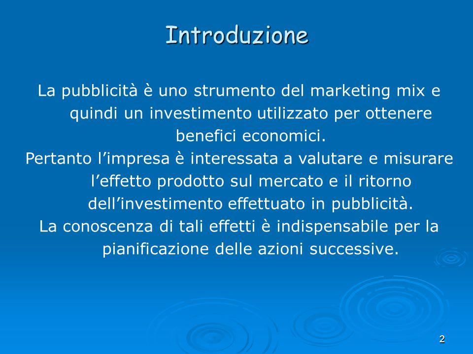 2 La pubblicità è uno strumento del marketing mix e quindi un investimento utilizzato per ottenere benefici economici. Pertanto limpresa è interessata