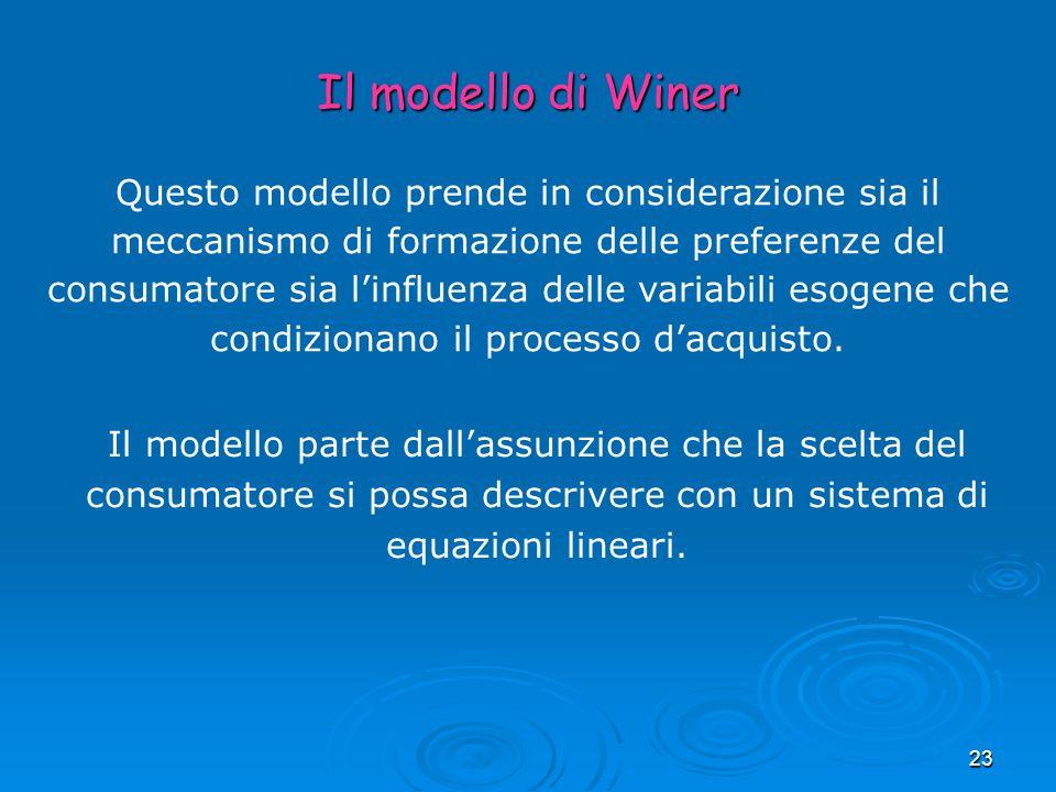 23 Il modello di Winer Questo modello prende in considerazione sia il meccanismo di formazione delle preferenze del consumatore sia linfluenza delle v