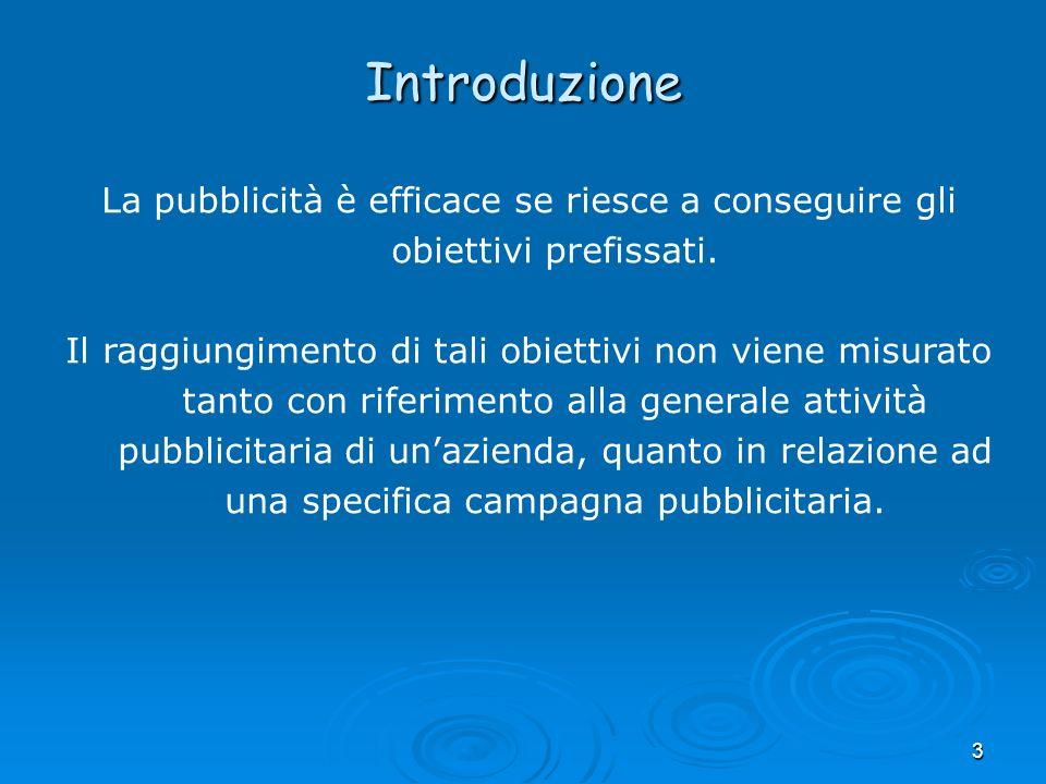3 La pubblicità è efficace se riesce a conseguire gli obiettivi prefissati. Il raggiungimento di tali obiettivi non viene misurato tanto con riferimen