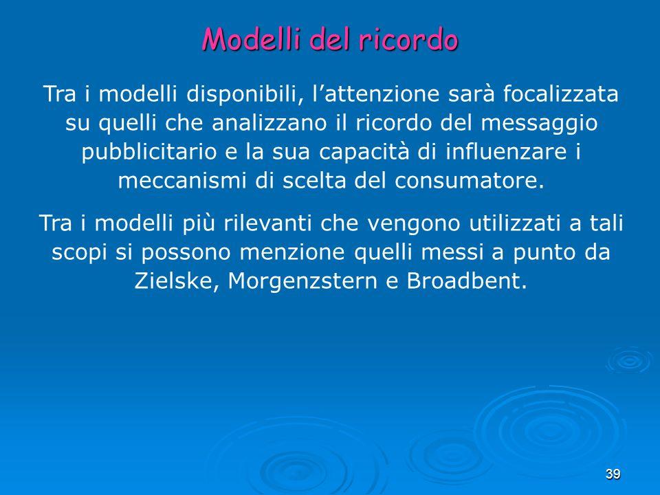 39 Modelli del ricordo Tra i modelli disponibili, lattenzione sarà focalizzata su quelli che analizzano il ricordo del messaggio pubblicitario e la su