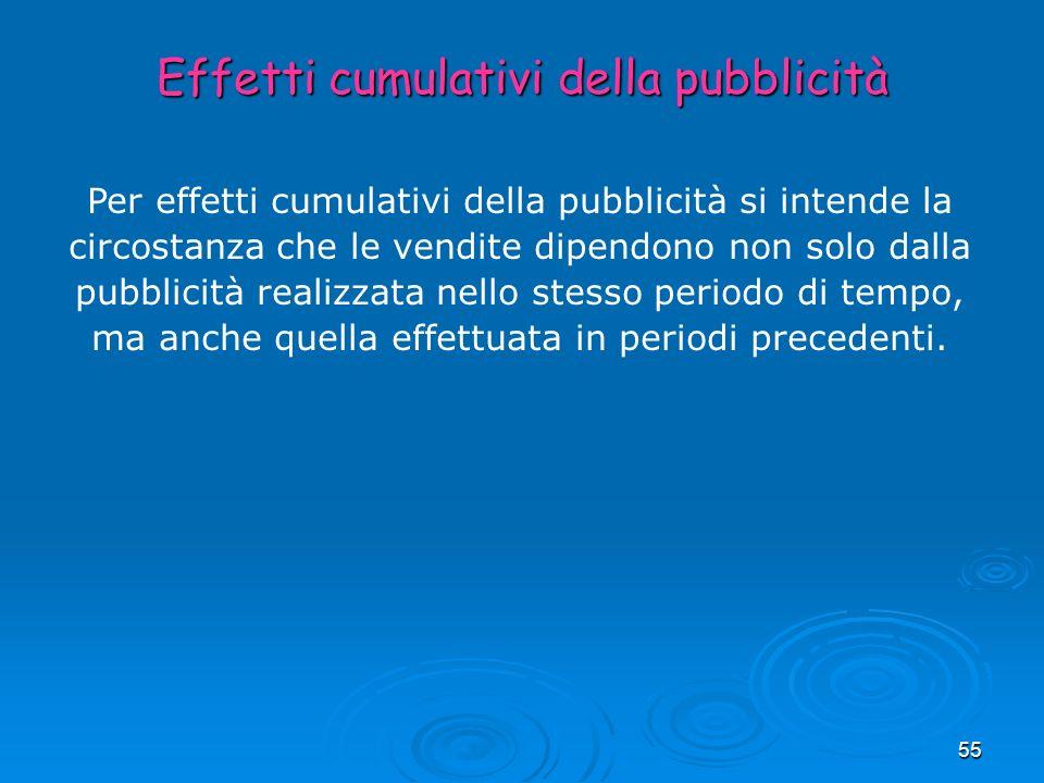55 Per effetti cumulativi della pubblicità si intende la circostanza che le vendite dipendono non solo dalla pubblicità realizzata nello stesso period