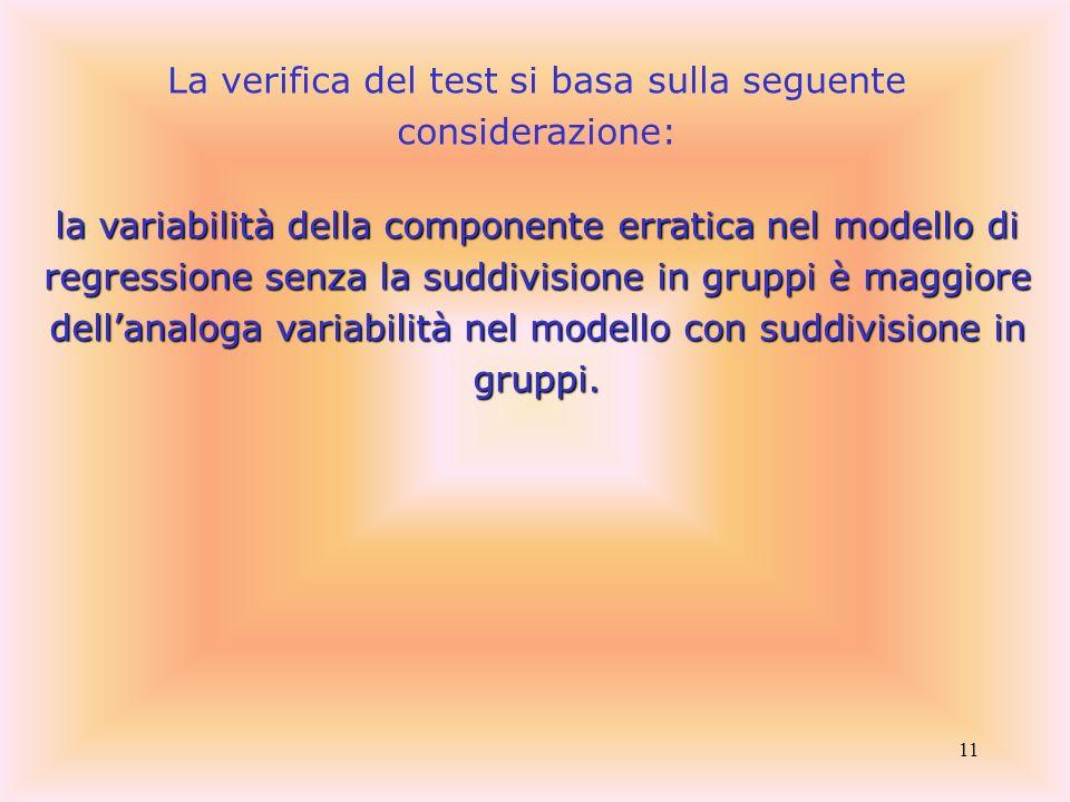 11 La verifica del test si basa sulla seguente considerazione: la variabilità della componente erratica nel modello di regressione senza la suddivisio