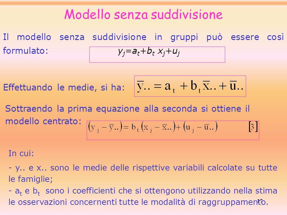 17 Il modello senza suddivisione in gruppi può essere così formulato:y j =a t +b t x j +u j Modello senza suddivisione Sottraendo la prima equazione a