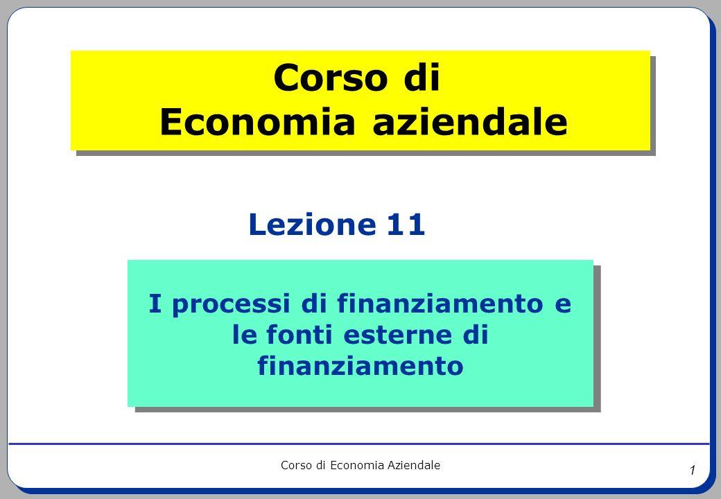 1 Corso di Economia Aziendale I processi di finanziamento e le fonti esterne di finanziamento I processi di finanziamento e le fonti esterne di finanz