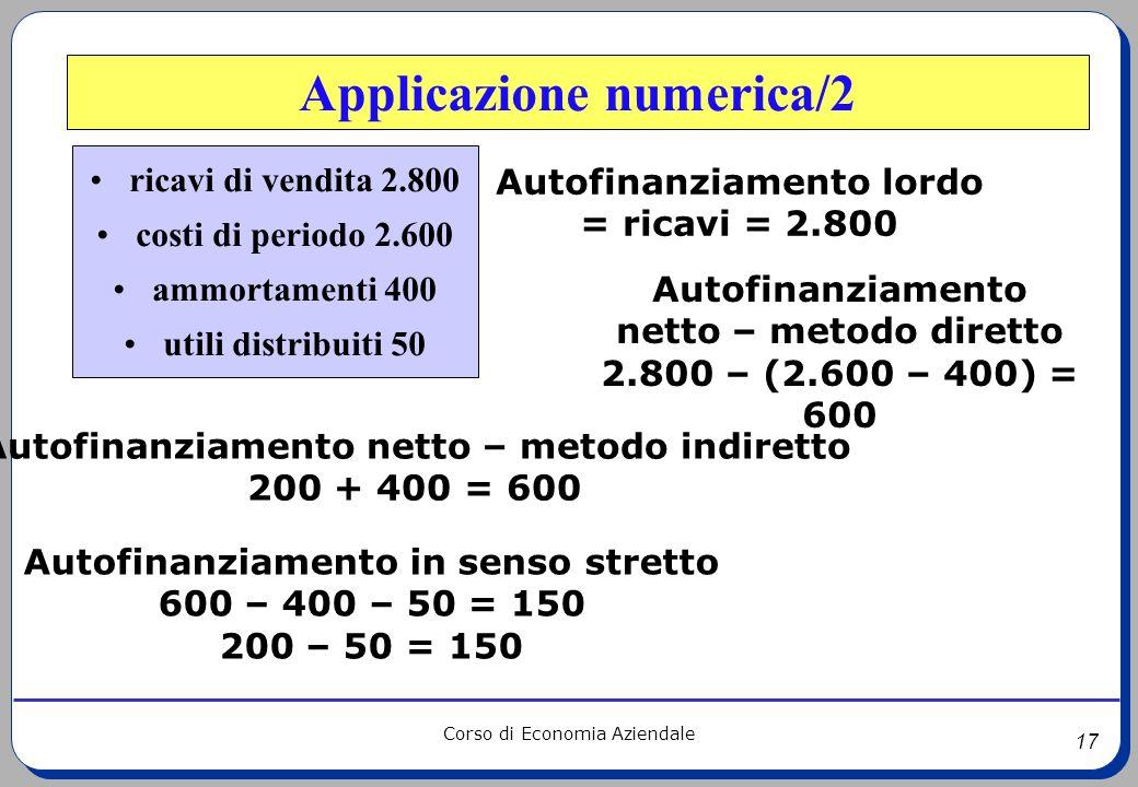 17 Corso di Economia Aziendale Applicazione numerica/2 ricavi di vendita 2.800 costi di periodo 2.600 ammortamenti 400 utili distribuiti 50 Autofinanz
