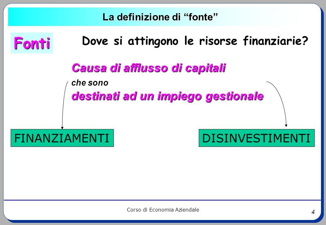 4 Corso di Economia Aziendale La definizione di fonte Causa di afflusso di capitali che sono destinati ad un impiego gestionale FINANZIAMENTIDISINVEST