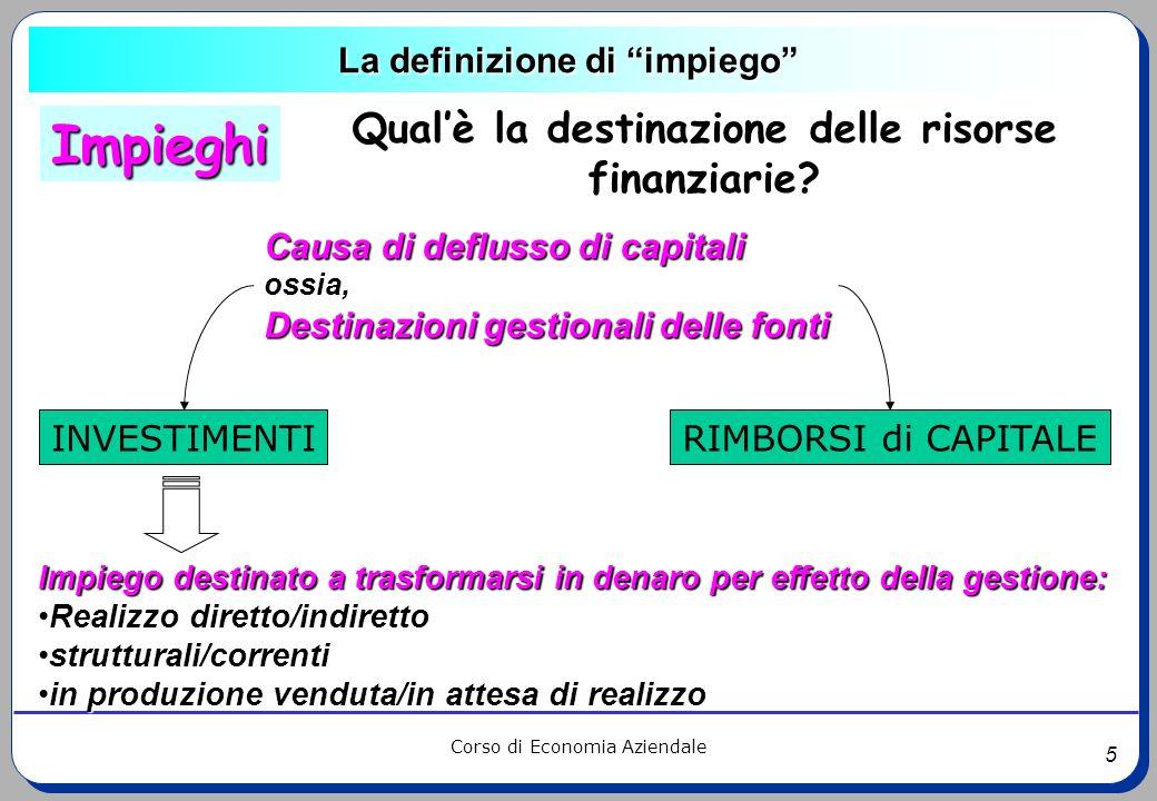 5 Corso di Economia Aziendale La definizione di impiego Causa di deflusso di capitali ossia, Destinazioni gestionali delle fonti Impiego destinato a t