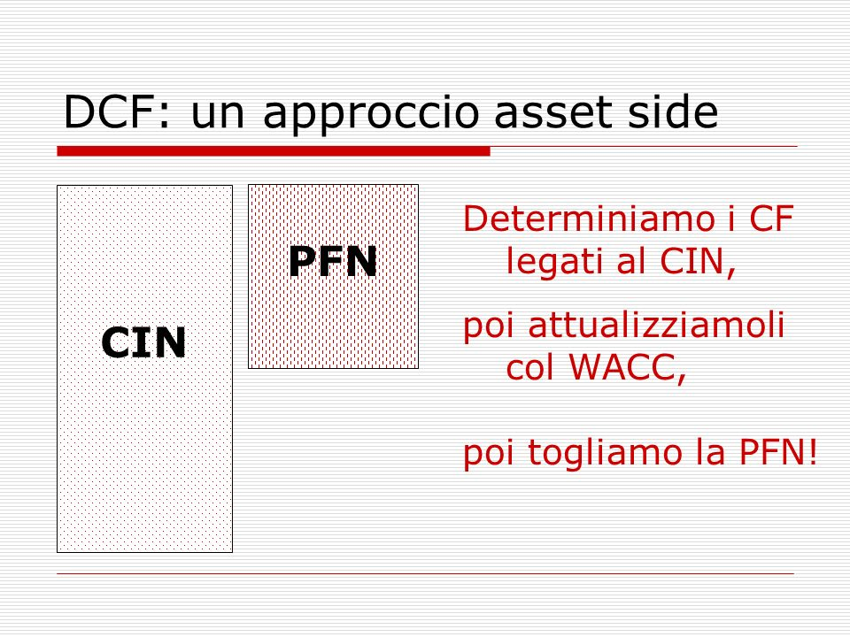 DCF: un approccio asset side Determiniamo i CF legati al CIN, CIN PFN poi togliamo la PFN! poi attualizziamoli col WACC,