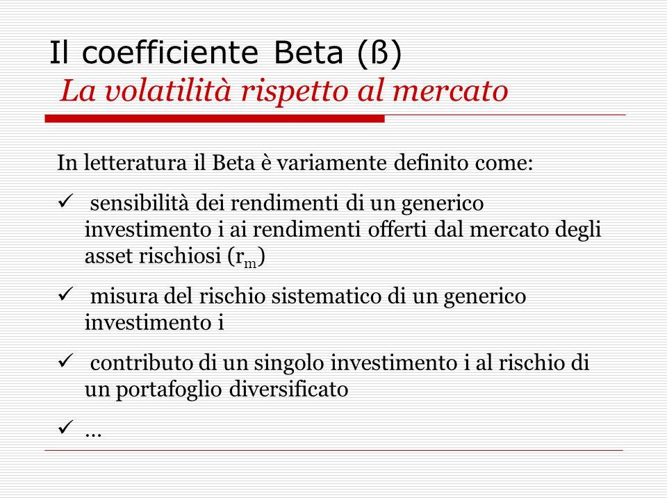 Il coefficiente Beta (ß) La volatilità rispetto al mercato In letteratura il Beta è variamente definito come: sensibilità dei rendimenti di un generic