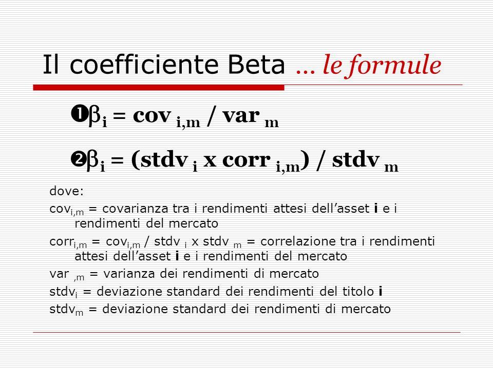 Il coefficiente Beta … le formule i = cov i,m / var m i = (stdv i x corr i,m ) / stdv m dove: cov i,m = covarianza tra i rendimenti attesi dellasset i