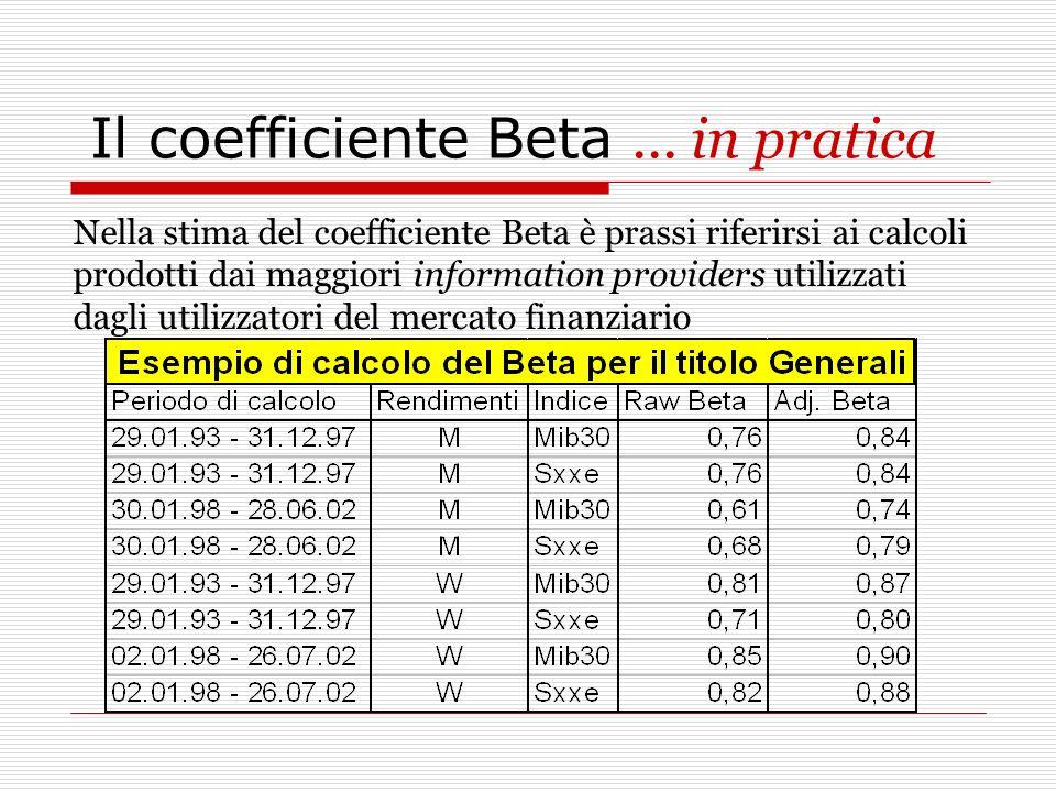 Il coefficiente Beta... in pratica Nella stima del coefficiente Beta è prassi riferirsi ai calcoli prodotti dai maggiori information providers utilizz