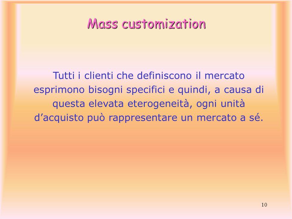 10 Tutti i clienti che definiscono il mercato esprimono bisogni specifici e quindi, a causa di questa elevata eterogeneità, ogni unità dacquisto può r