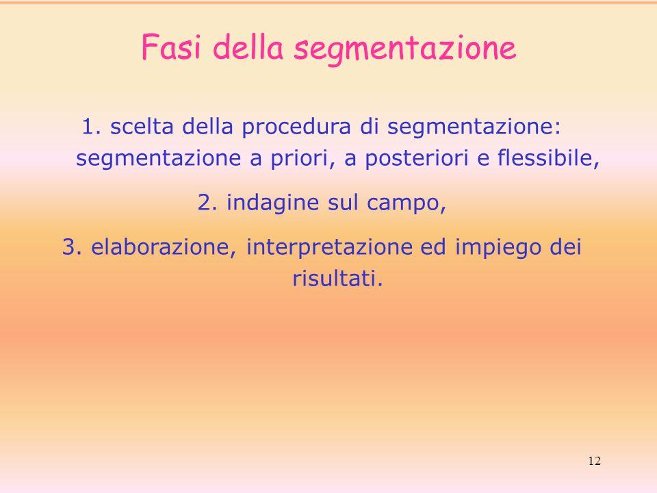 12 1. scelta della procedura di segmentazione: segmentazione a priori, a posteriori e flessibile, 2. indagine sul campo, 3. elaborazione, interpretazi