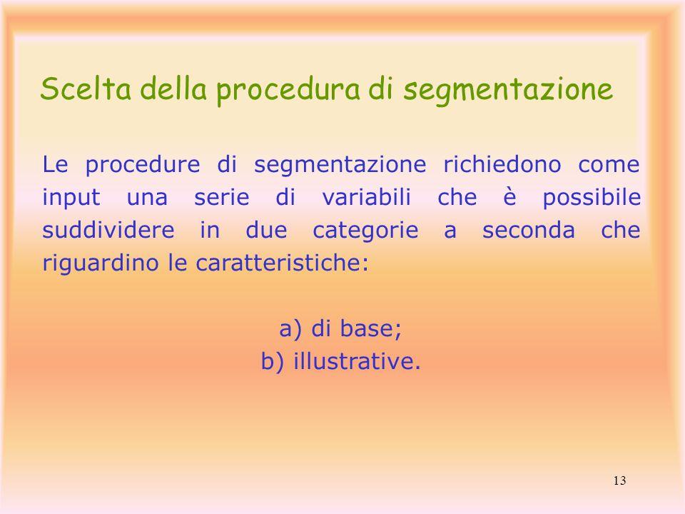 13 Le procedure di segmentazione richiedono come input una serie di variabili che è possibile suddividere in due categorie a seconda che riguardino le