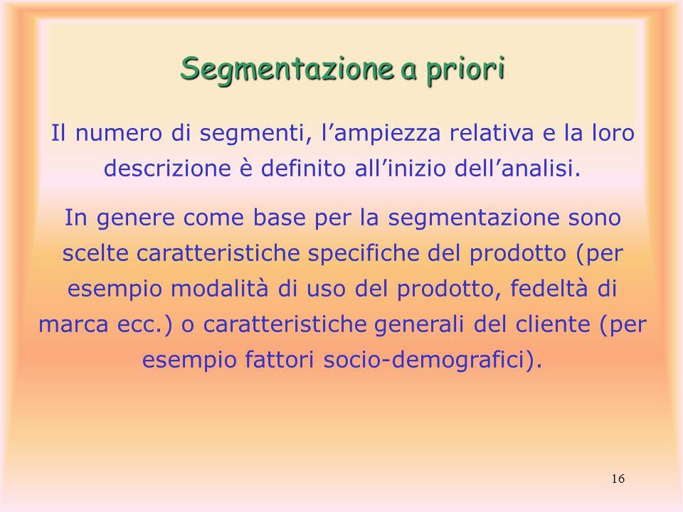 16 Il numero di segmenti, lampiezza relativa e la loro descrizione è definito allinizio dellanalisi. In genere come base per la segmentazione sono sce