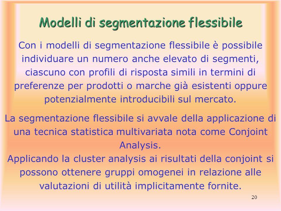20 Con i modelli di segmentazione flessibile è possibile individuare un numero anche elevato di segmenti, ciascuno con profili di risposta simili in t