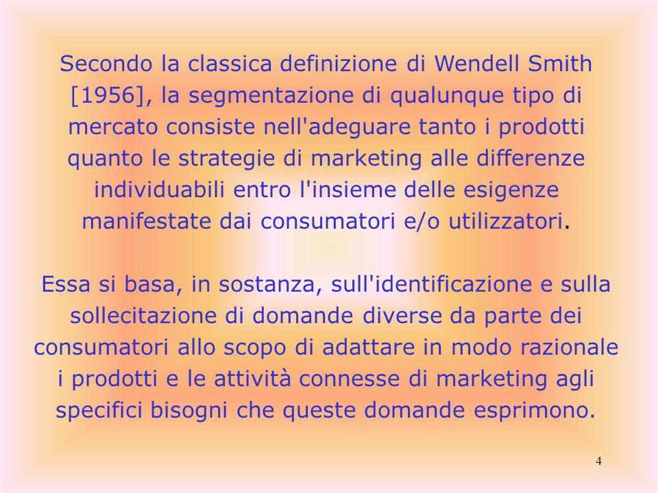 4 Secondo la classica definizione di Wendell Smith [1956], la segmentazione di qualunque tipo di mercato consiste nell'adeguare tanto i prodotti quant