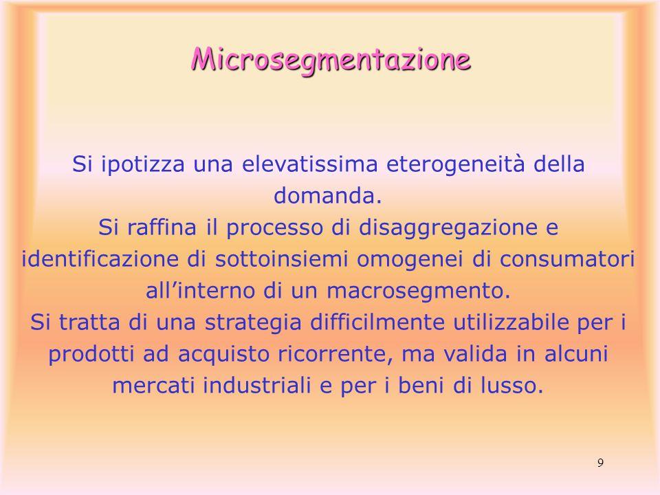 9 Si ipotizza una elevatissima eterogeneità della domanda. Si raffina il processo di disaggregazione e identificazione di sottoinsiemi omogenei di con
