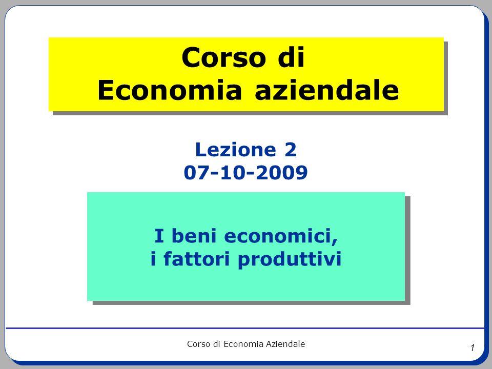1 Corso di Economia Aziendale I beni economici, i fattori produttivi I beni economici, i fattori produttivi Lezione 2 07-10-2009 Corso di Economia azi