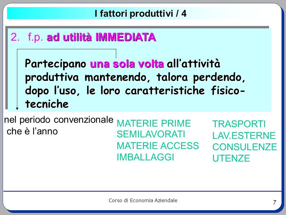 7 Corso di Economia Aziendale I fattori produttivi / 4 ad utilità IMMEDIATA 2. f.p. ad utilità IMMEDIATA Partecipano una sola volta allattività produt