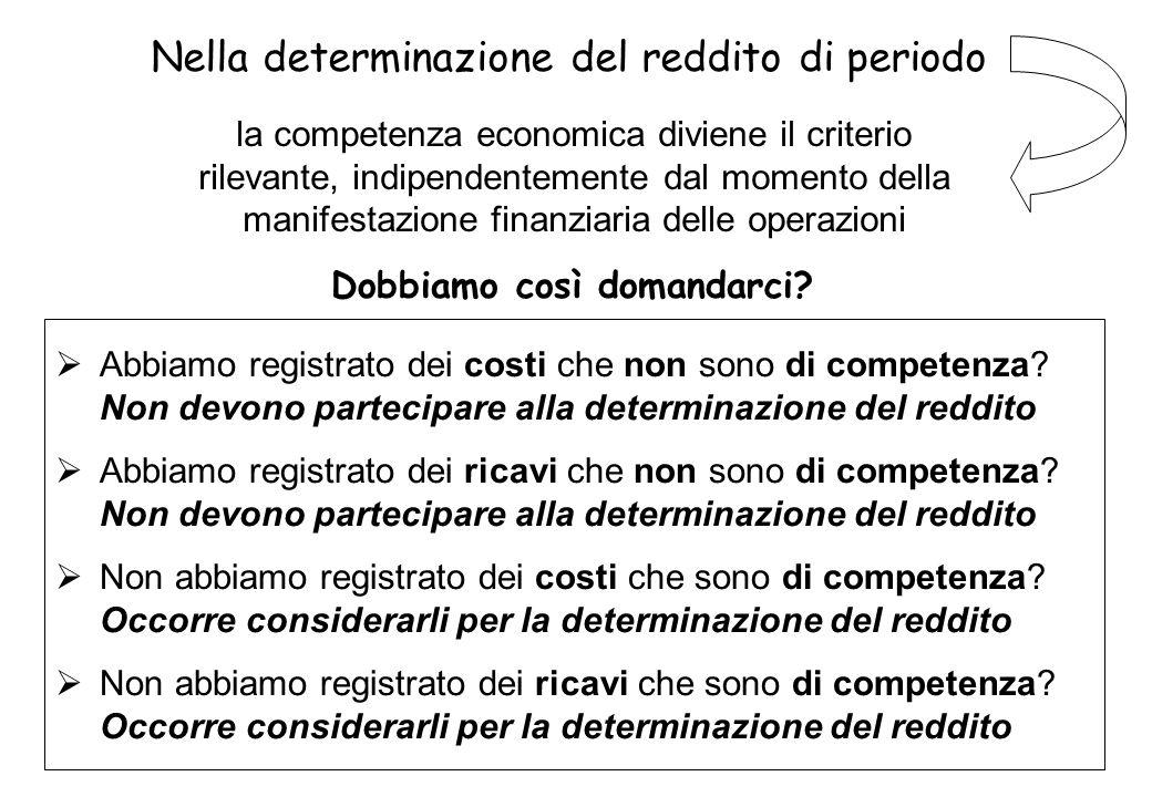 la competenza economica diviene il criterio rilevante, indipendentemente dal momento della manifestazione finanziaria delle operazioni Abbiamo registr