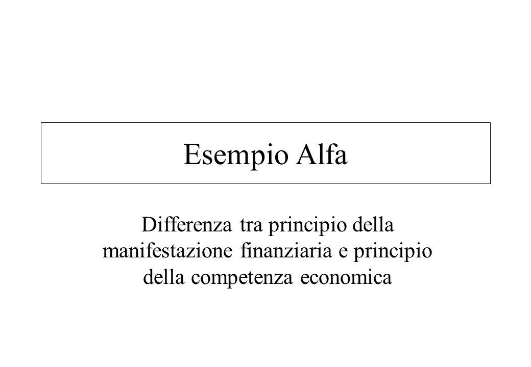 Esempio Alfa Differenza tra principio della manifestazione finanziaria e principio della competenza economica