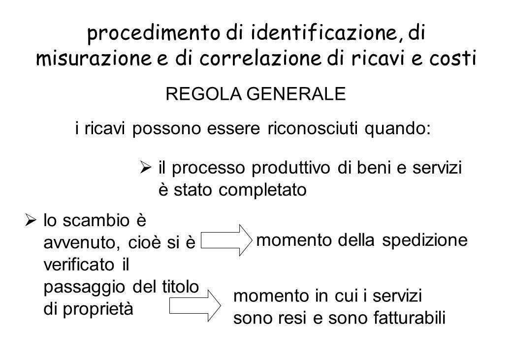 procedimento di identificazione, di misurazione e di correlazione di ricavi e costi lo scambio è avvenuto, cioè si è verificato il passaggio del titol