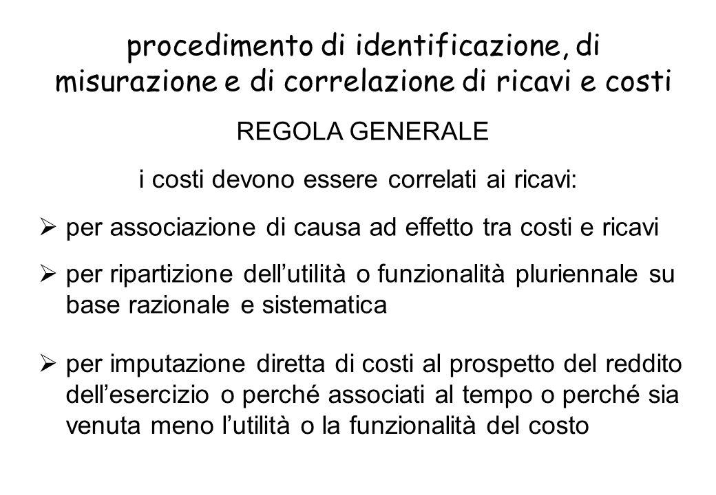 procedimento di identificazione, di misurazione e di correlazione di ricavi e costi per ripartizione dellutilità o funzionalità pluriennale su base ra