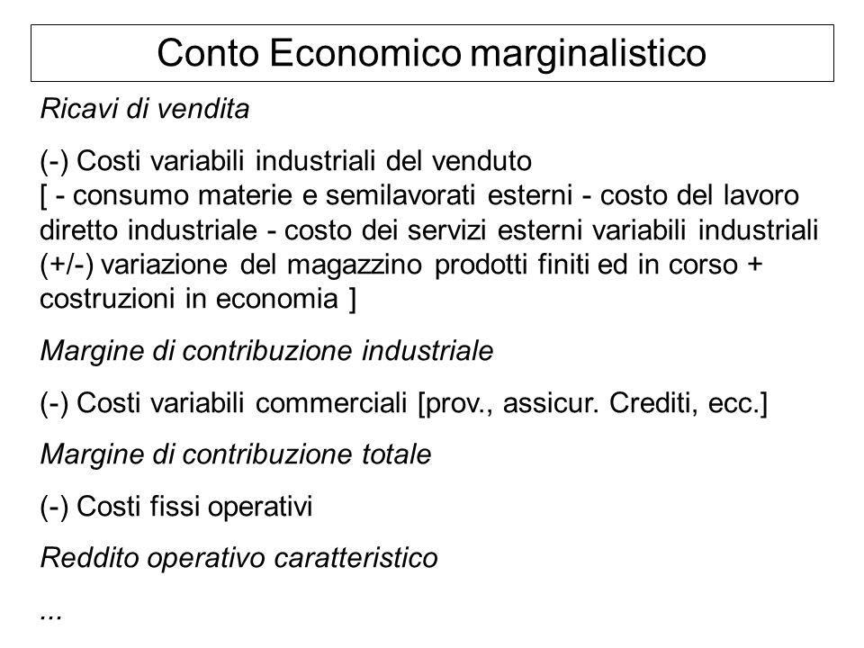 Conto Economico marginalistico Ricavi di vendita (-) Costi variabili industriali del venduto [ - consumo materie e semilavorati esterni - costo del la