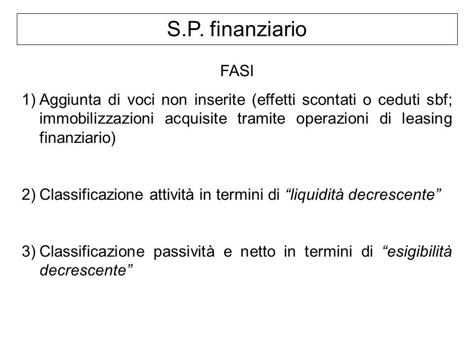 S.P. finanziario FASI 1)Aggiunta di voci non inserite (effetti scontati o ceduti sbf; immobilizzazioni acquisite tramite operazioni di leasing finanzi