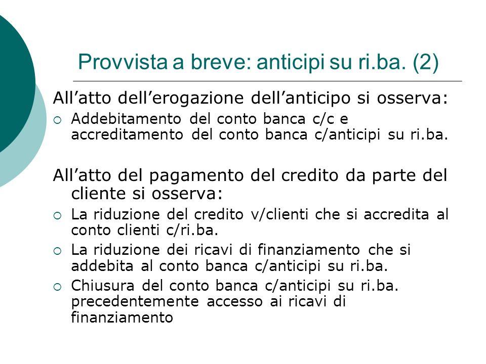 Allatto dellerogazione dellanticipo si osserva: Addebitamento del conto banca c/c e accreditamento del conto banca c/anticipi su ri.ba. Allatto del pa