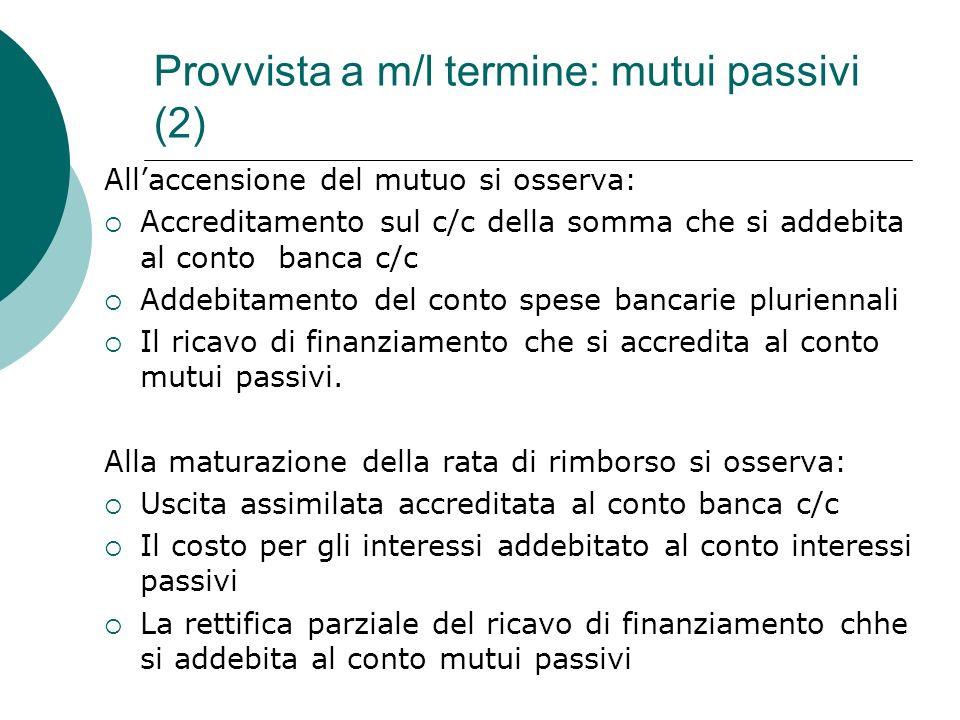 Provvista a m/l termine: mutui passivi (2) Allaccensione del mutuo si osserva: Accreditamento sul c/c della somma che si addebita al conto banca c/c A